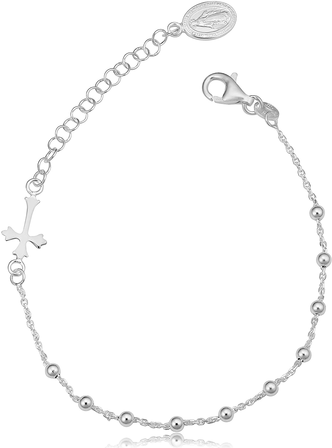 Kooljewelry Sterling Silver Saturn Rosary Adjustable Length Bracelet (adjusts from 7 to 8.5 inch)