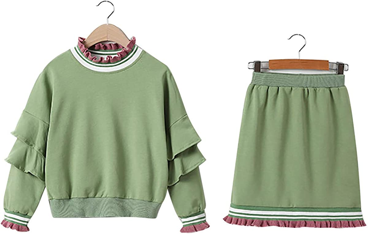Freebily Girls Two Pieces Ruffled Long Sleeves Sweatshirt T-Shirt Top with Hip Skrit Spring Autumn Daily wear Outfit