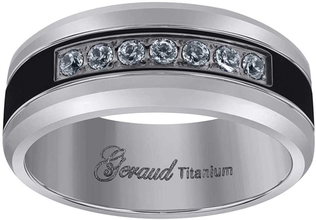 Titanium Black Tone Mens Cubic Zirconia CZ Beveled Edge Comfort Fit Wedding Band 8mm Jewelry Gifts for Men - Ring Size Options: 10 10.5 11 11.5 12 12.5 13 8 8.5 9 9.5
