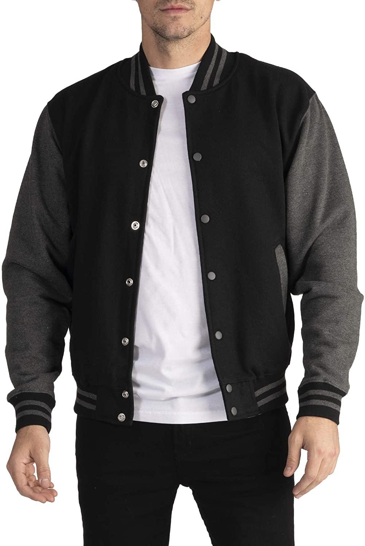 Pro Club Men's Varsity Fleece Baseball Jacket, Black/Charcoal, 3X-Large