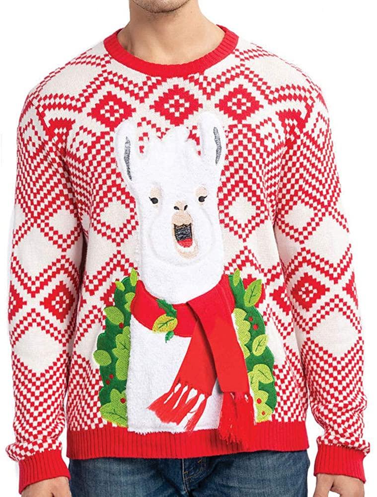 JOYIN Men's Christmas Fuzzy Llama Alpaca Ugly Sweater for Holiday or Birthday Gift