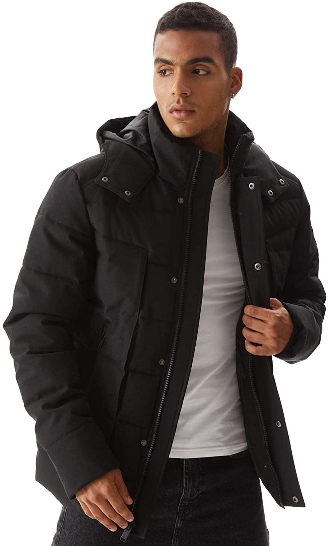 Molemsx Heavy Winter Coat for Men, Alternative Down Jacket Mens Winter Waterproof Classic Hooded Puffer Jacket,Classic Club Padded Jacket for Cold Weather Black,XXX-Large