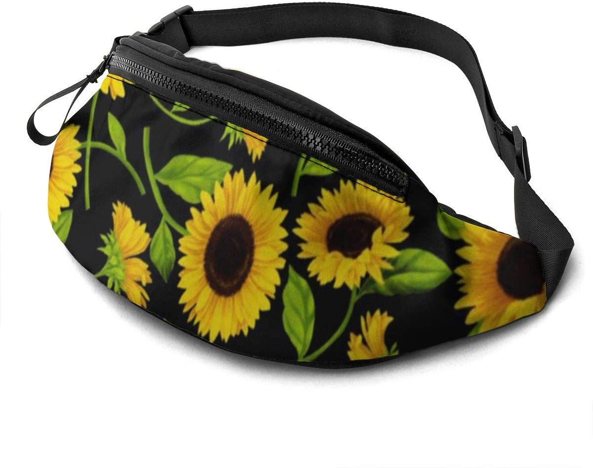 Beautiful Sunflower Fanny Pack for Men Women Waist Pack Bag with Headphone Jack and Zipper Pockets Adjustable Straps