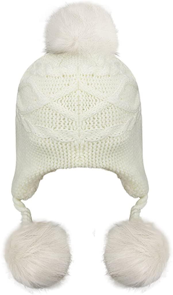 Greenery Baby Warm Winter Hats Kids Pom Pom Fleece Lined Earflap Crochet Knit Beanie Cap