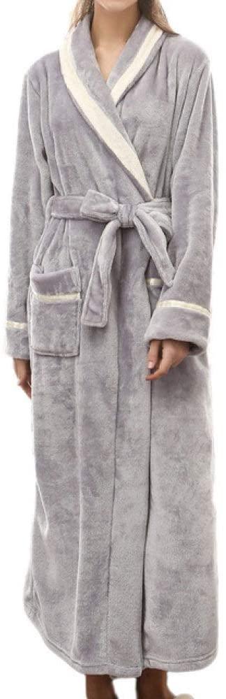 llwannr Bathrobe Robe Nightgown Sleep,Winter Couples Bathrobe Women Sleepwear Plush Bath Robe Men Peignoir Homme Mens Kimono Splicing Home Clothes Thick,Gray,XXXL