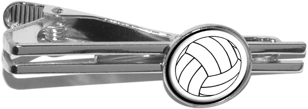 Volleyball Round Tie Bar Clip Clasp Tack - Silver