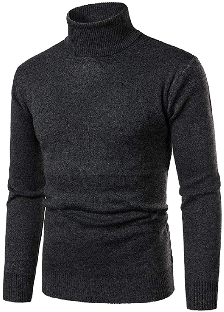 YYear Men's Turtleneck Slim Solid Pullover Casual Knitted Sweater
