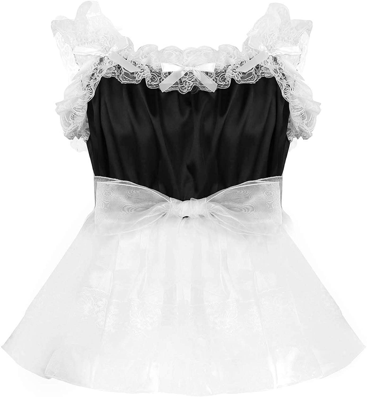 Hularka Mens Sissy Satin Ruffled Lace Pajamas Dress Nightwear French Maid Roleplay Tulle Dresses