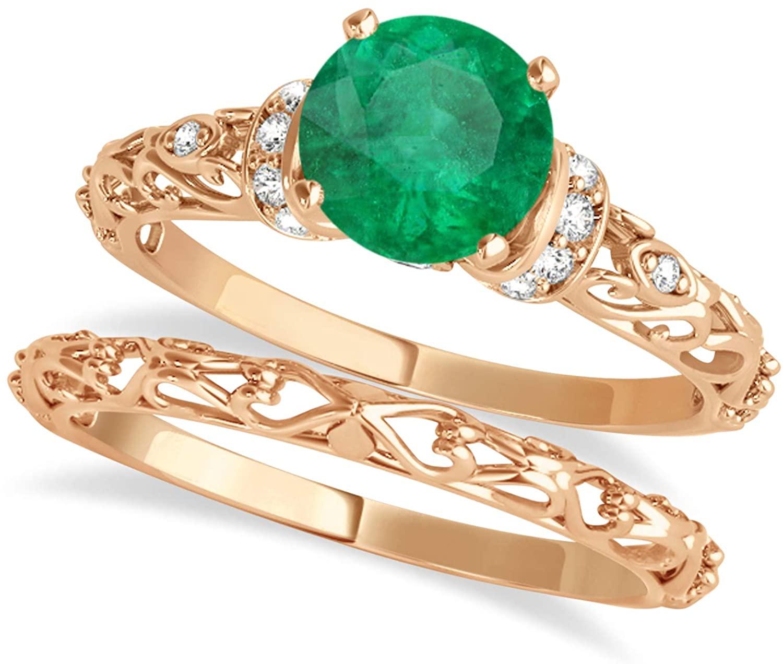 (0.87ct) 18k Rose Gold Emerald and Diamond Antique-Style Bridal Set