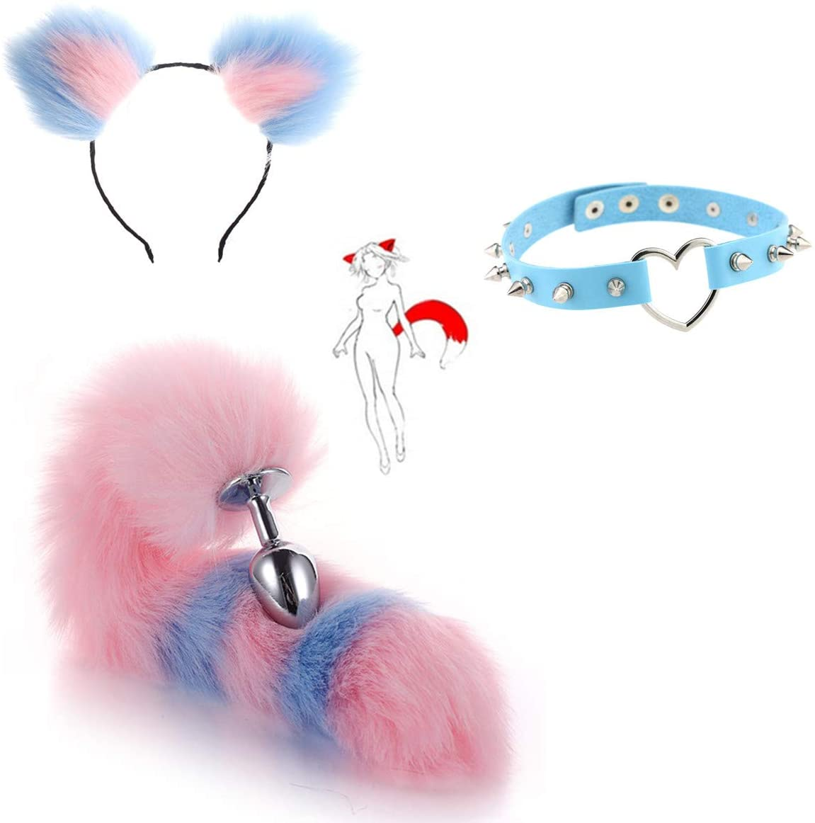 Exquisite Workmanship Furry Fox Tail & Headband & Heart-Shape Spikes Collar B-ütt an-âl Pl-ùg T-ö-ys Halloween Costume Cosplay Party Set - M