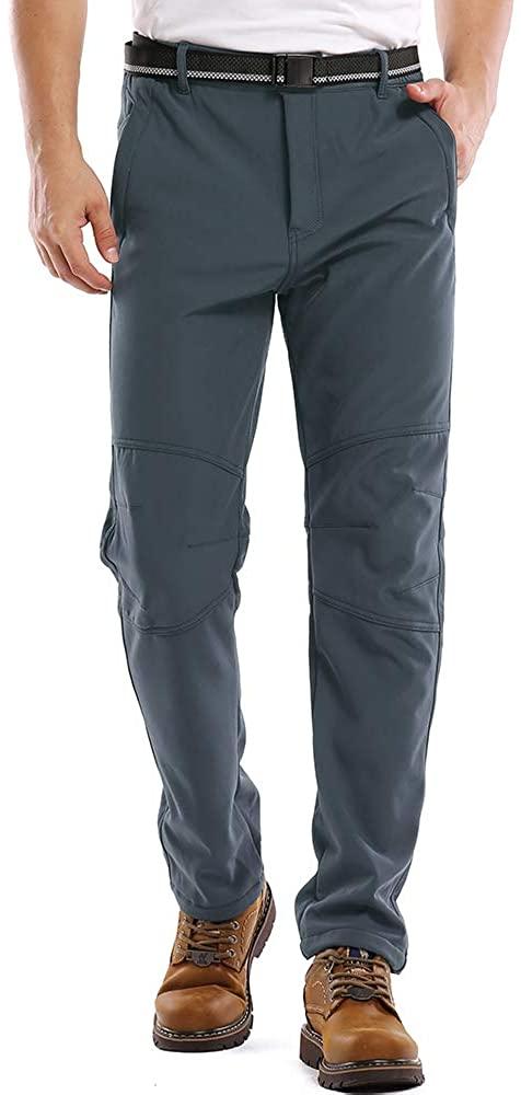 Toomett Men's Snow Hiking Camping Pants Outdoor Fishing Ski Fleece Lined Waterproof Softshell Bottoms#5088,Grey,38