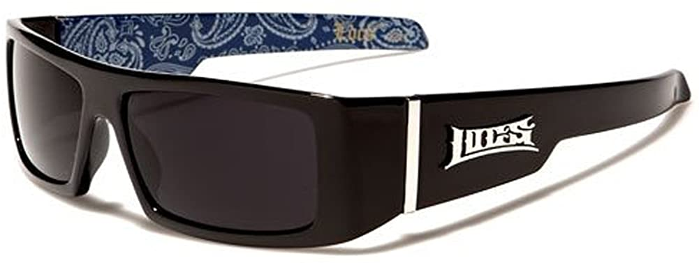 Locs Mens Hardcore Wrap Around Sunglasses with Bandana Print Inside