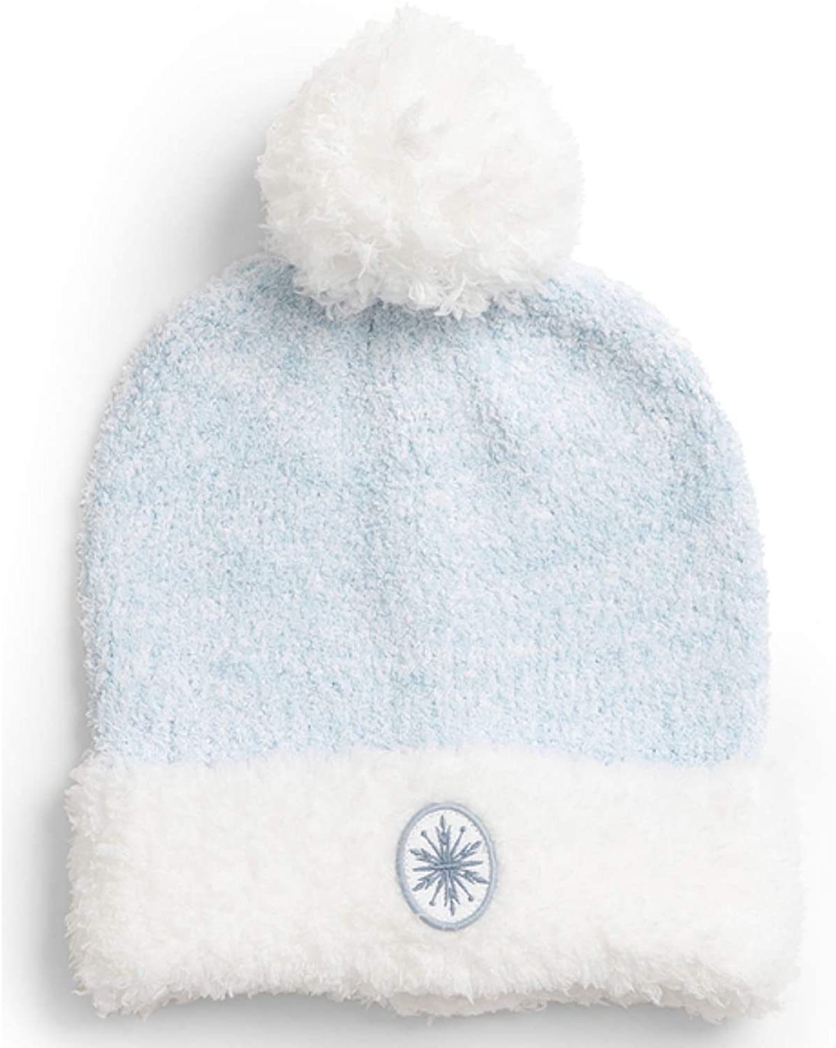 Barefoot Dreams CozyChic Frozen Disney Youth Slouchy Beanie, Beanie for Kids, Boy and Girl's Fashion Comfortable Fall and Winter Hat, Pom Pom- Heathered Ice Blue