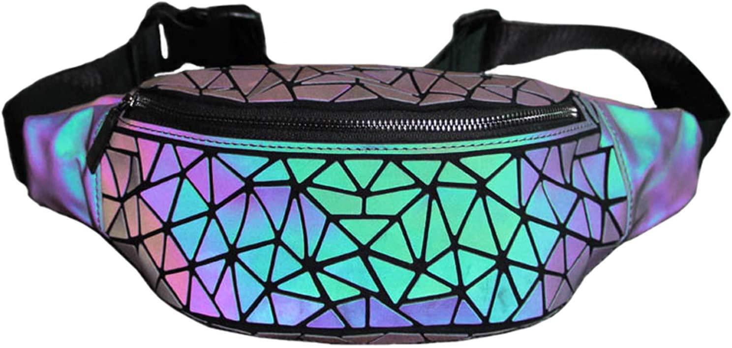 Women Luminous Waist Bags Geometric Fanny Packs Belt Bag Travel Chest Bag Purse Handbag Waist Packs Mobile Phone Bag