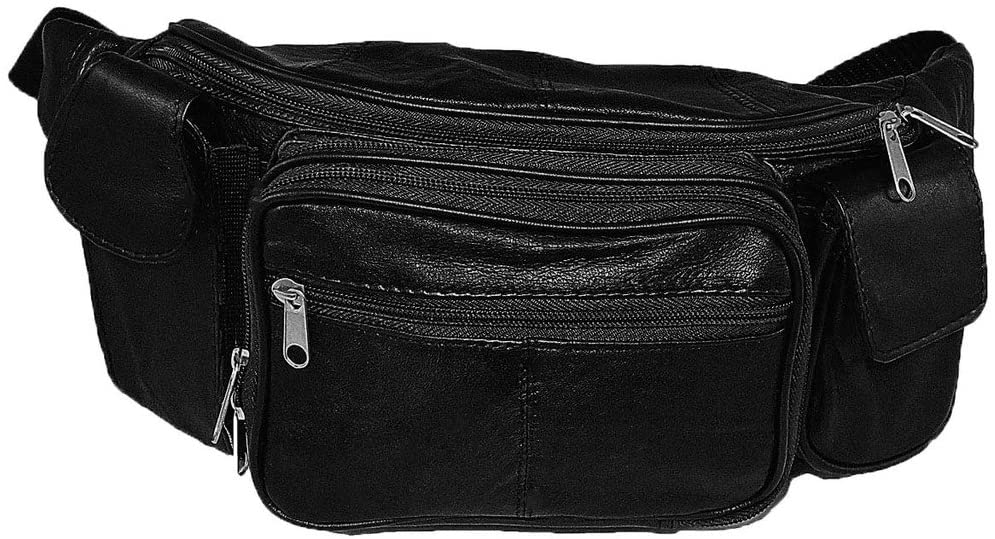 Large Soft Lambskin Leather Fanny Pack with Smartphone Pocket (Waist 48-60)
