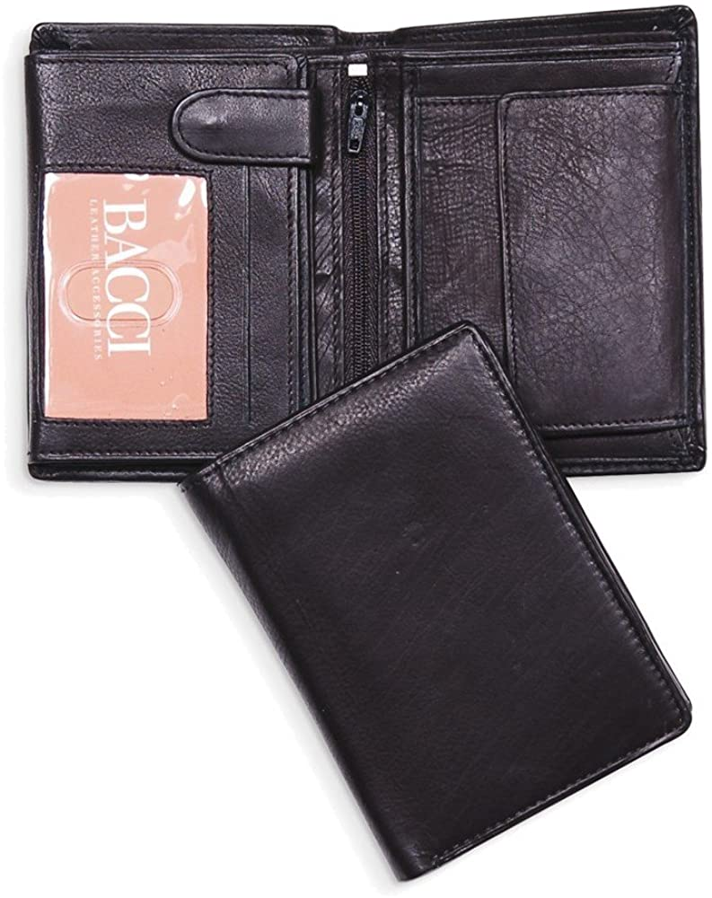 Jewelry Adviser Gifts Black Top Grain Cowhide Euro Fold Hipster Wallet