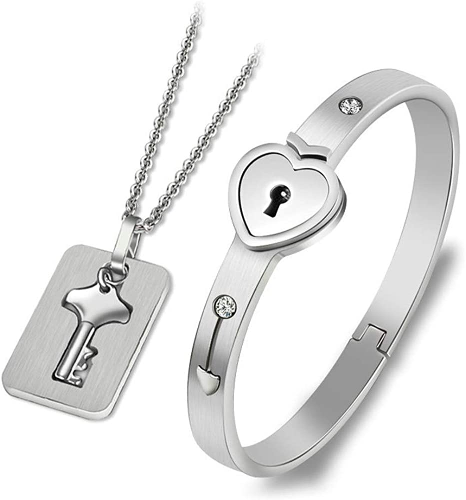 Lock Bracelet and Key Necklace - Titanium Steel Couples Jewelry, Romantic Gift for Valentines Day, Birthday, Christmas, Wedding, Anniversary