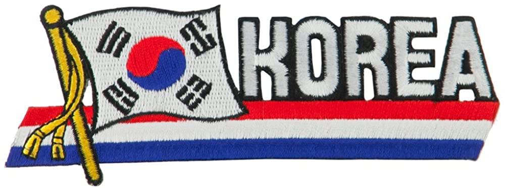 Asia Flag Cutout Embroidered Patches - Korea
