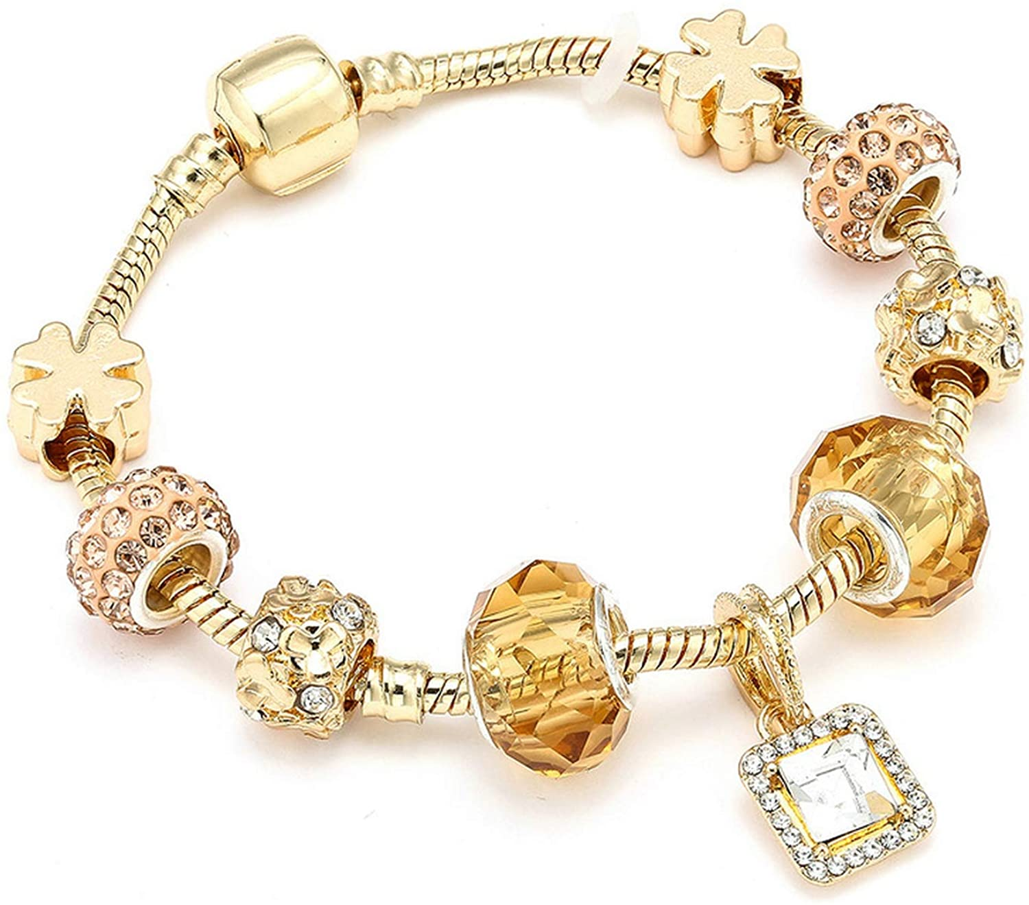 Luxury Crystal Heart Gold Color Charm Bracelet for Girl Murano Glass Beads Brand Bracelet for Women DIY Jewelry Gift,Pure Gold Color,21cm