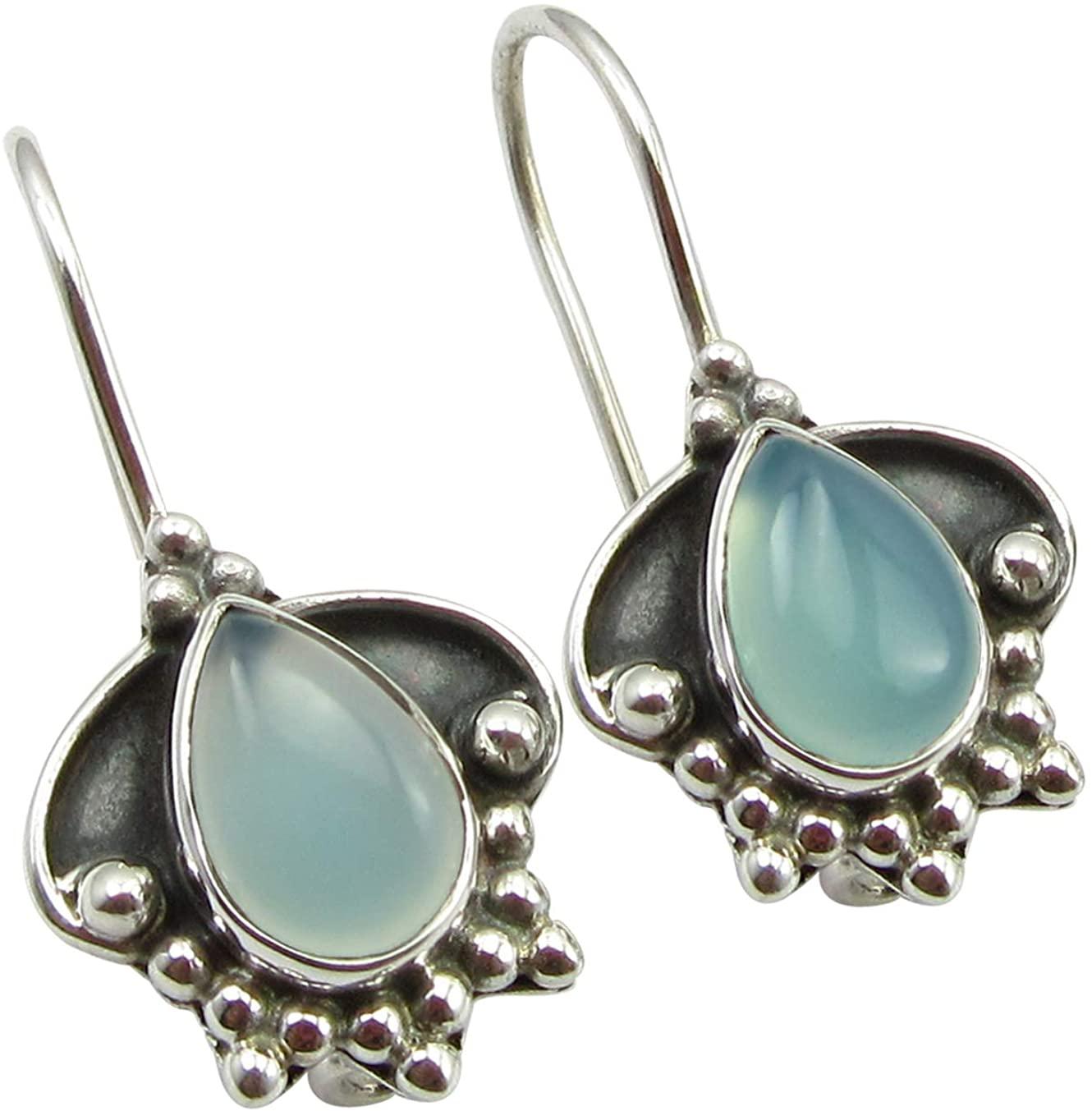 SilverStarJewel Natural Drop Chalcedony Tribal Style Earrings 1 925 Solid Sterling Silver