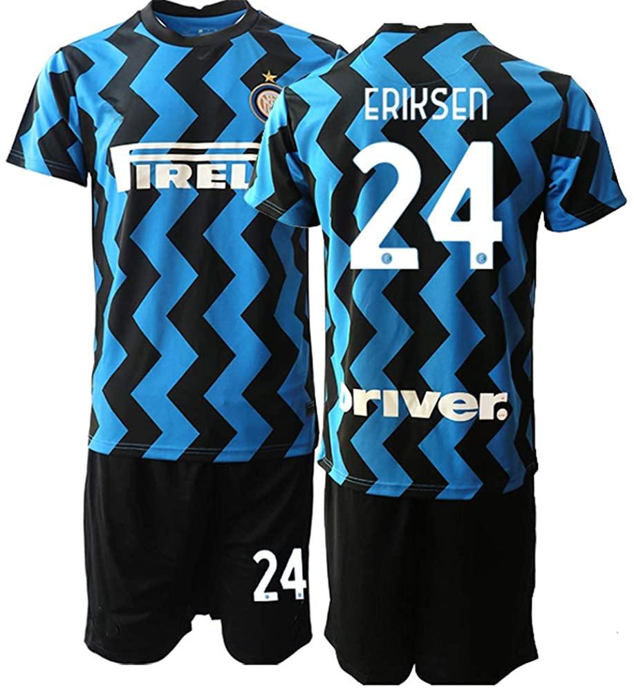 WEIFENG Kids 20/21 Eriksen 24# Soccer Jersey T-Shirt and Sports Shorts Suit -Blue Black