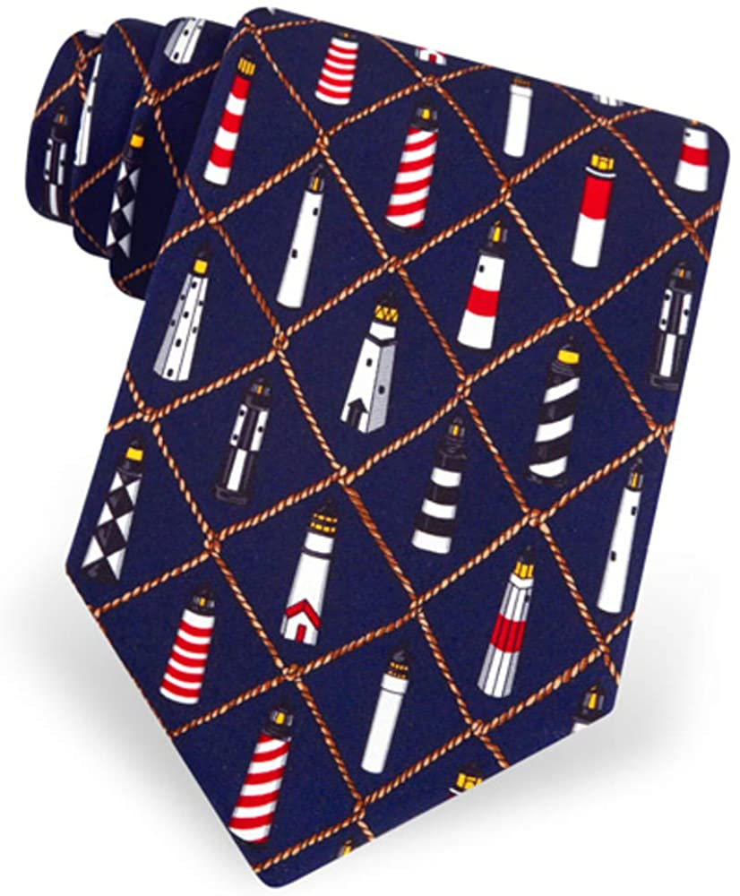 100% Silk Nautical Lighthouses Tie By Eric Holch Necktie Tie Neckwear