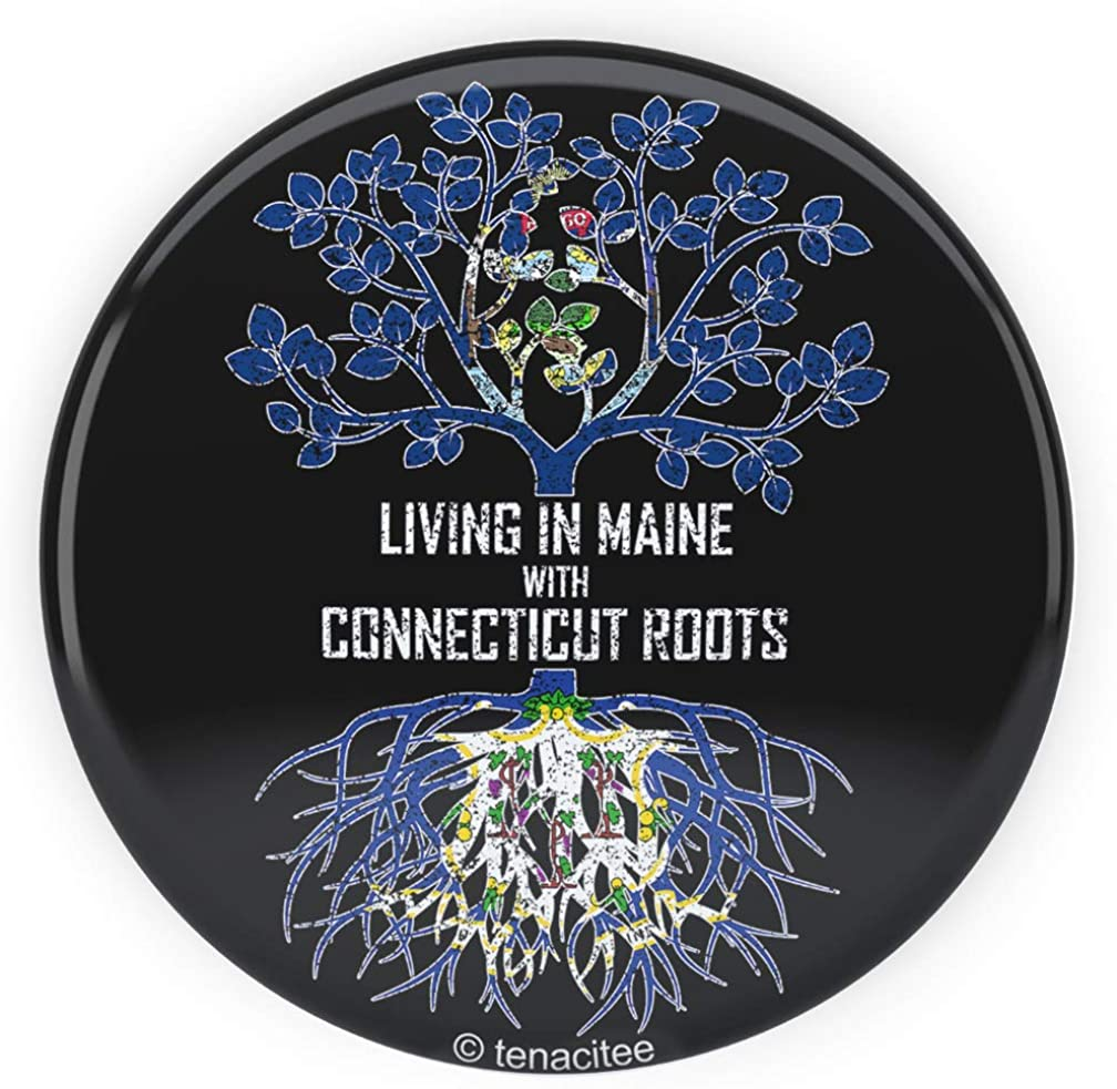 Tenacitee Living In Maine with Connecticut Roots Pinback Button
