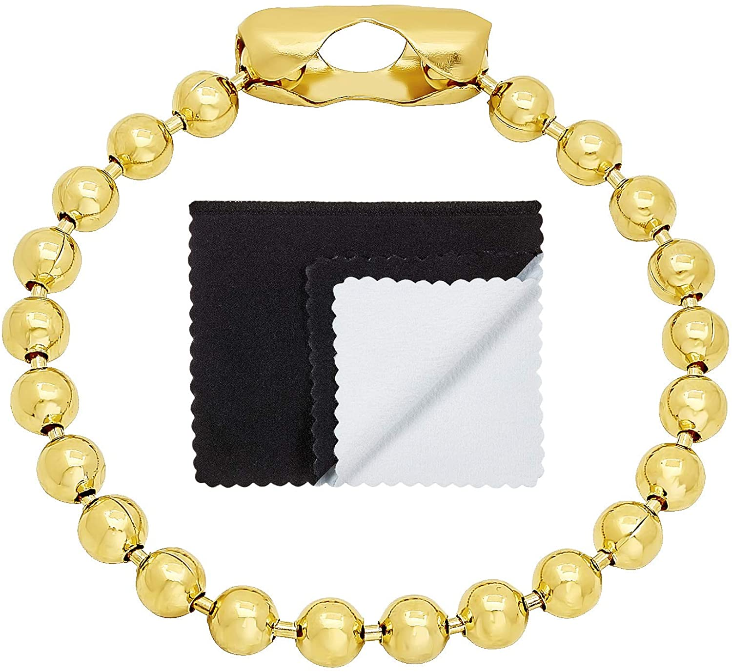 The Bling Factory 6.5mm 0.25 mils (6 microns) 14k Yellow Gold Plated Round Ball Chain Bracelet, 7 inches + Jewelry Cloth & Pouch