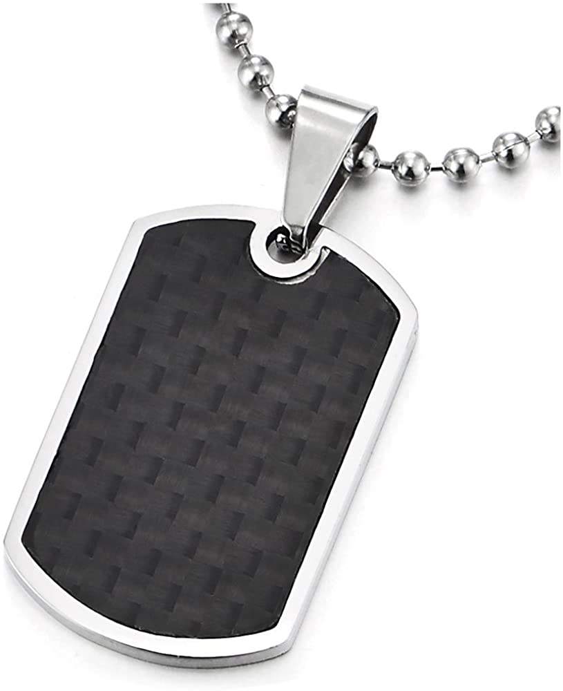 COOLSTEELANDBEYOND Stainless Steel Mens Dog Tag Pendant Necklace with Carbon Fiber and 23.6 inches Ball Chain