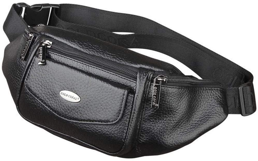 Hebetag Leather Fanny Pack Waist Bag for Men Women Travel Hiking Running Hip Bum Belt Slim Cell Phone Purse Wallet Pouch
