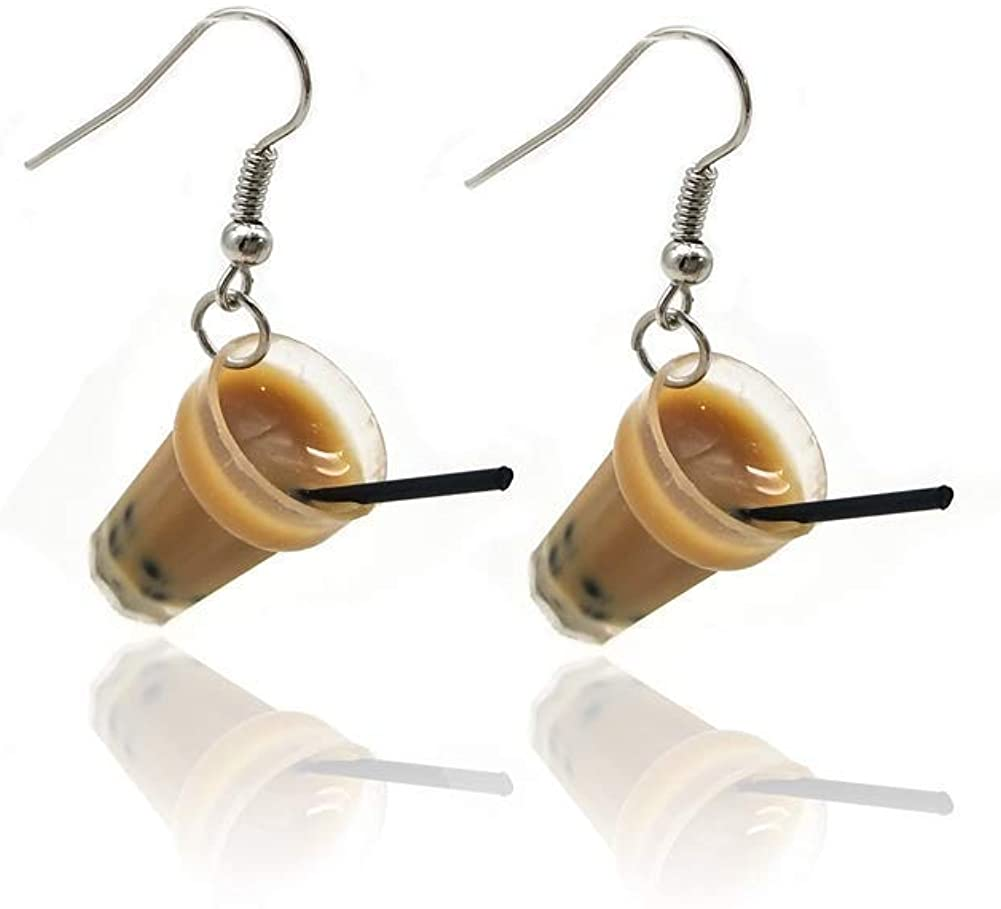 Lightweight Creative Unique Bubble Tea Drop Earrings lovely Personality Milk Tea Drink Earring for Girl Funny Party Jewelry Christmas Gifts