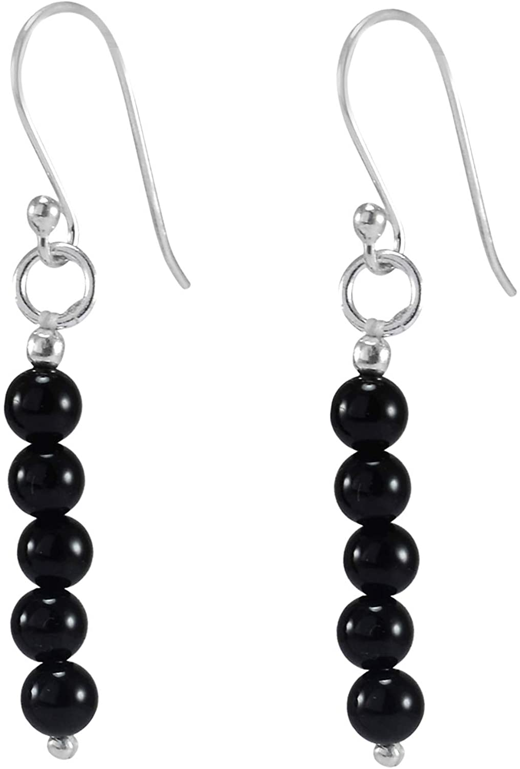 Saamarth Impex Handmade Jewelry Manufacturer Black Onyx/ 925 Sterling Silver/ 5 Bead Stone Round Beaded/Dangle Long Earring Jaipur Rajasthan India