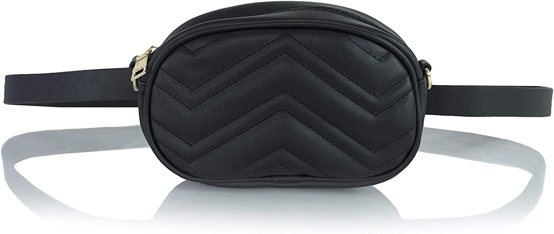 Quilted Chevron Fanny Waist Pack- Festival Belt Bag- Adjustable Vegan Leather Shoulder Daypack or Crossbody Purse