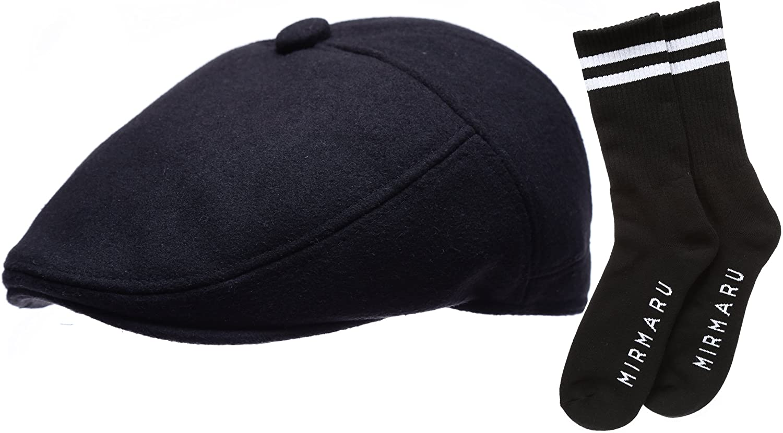 Mens Premium 100% Melton Wool 5 Panels Ivy Hat with Socks.