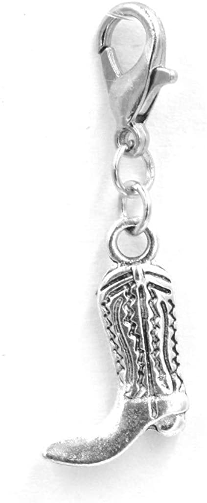 Its All About...You! Cowboy Boot Clip on Charm Perfect for Necklaces and Bracelets 96Ag
