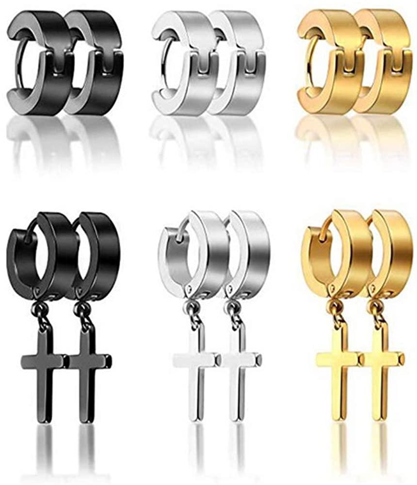 6 Pairs Titanium Earrings for Men Teens Cross Dangle Hoop Earrings
