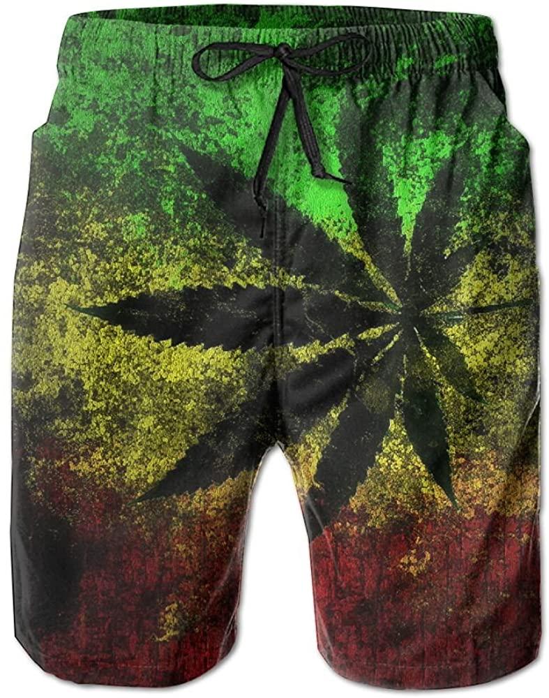 AW Men's Lightweight Quick Dry Beach Shorts Jamaica Flag Leaves Swim Trunks