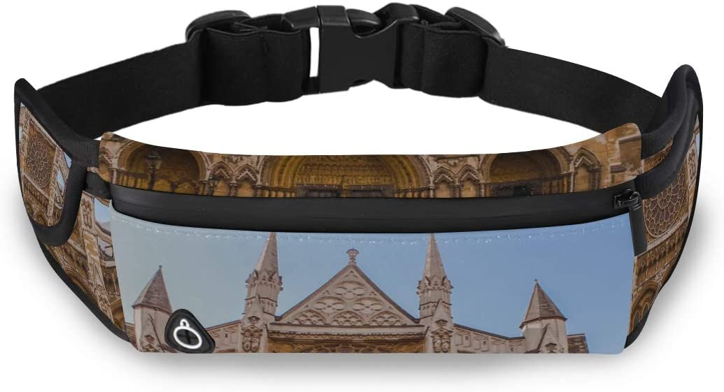 Elegant Gothic Architecture Church Waist Zipper Bag Bag For Women Fashion Zip Waist Pack With Adjustable Strap For Workout Traveling Running