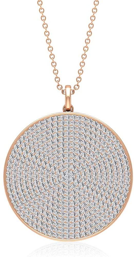 Custom 1.98 CT Tiny Certified Diamond Cluster Round Disc Pendant, Unique Women Gold Engraved Chain Charm Pendants, Vintage Statement Pendant for Girls
