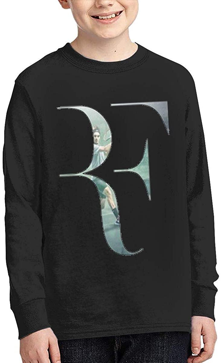 Boy Girl Teen Long Sleeve T-Shirt Roger Federer Exquisite Fashion Creation Black