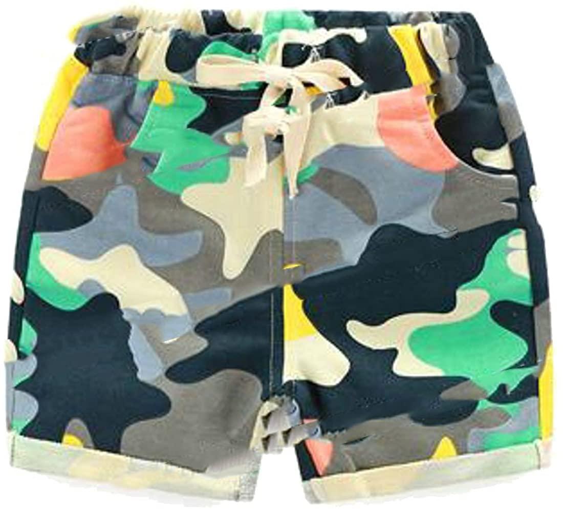Wopop Little Boys Comfortable Knee-Length Summer Drawstring Elastic Waist Camo Shorts