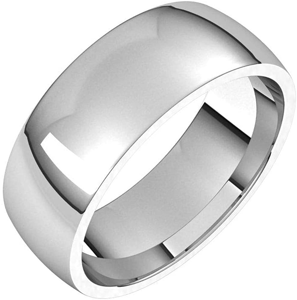 Solid 18K White Gold 7mm Half Round Comfort Fit Light Wedding Band Size 5