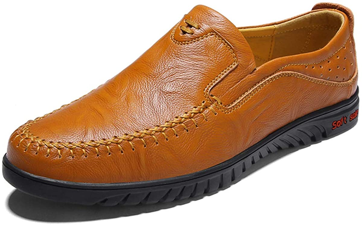 DaMaiZhang Men's Casual Leather Loafers Handmade Shoes Walking Driving Boat Moccasins Flat Slip-On