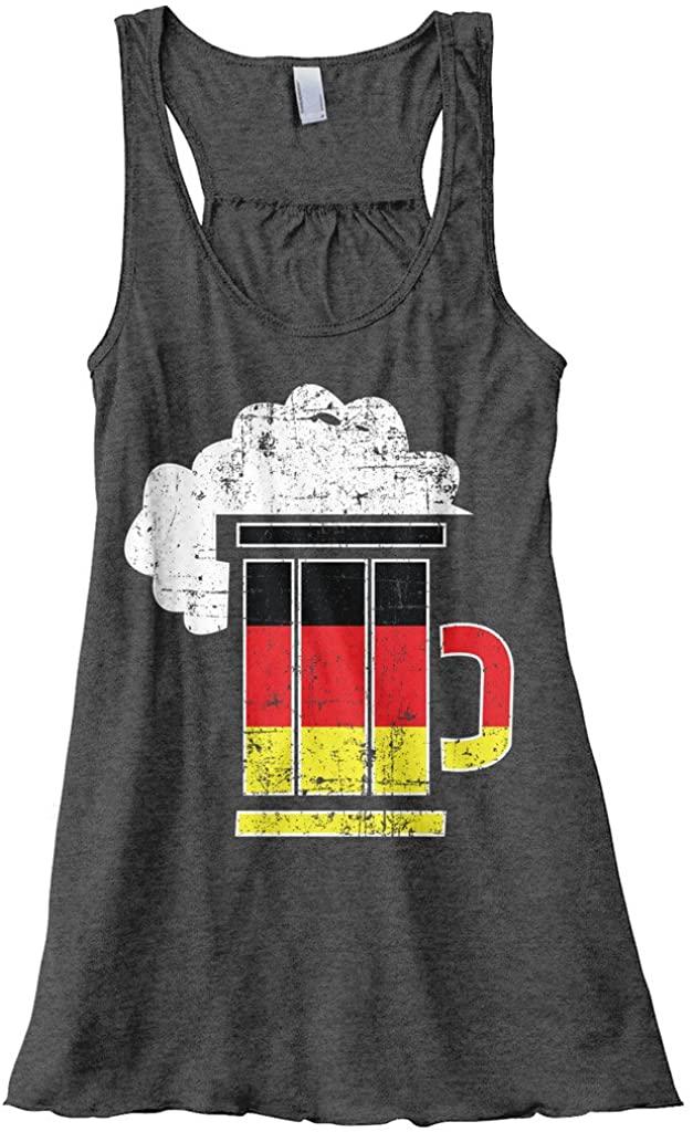 Threadrock Womens Germany Flag German Beer Mug Flowy Racerback Tank Top