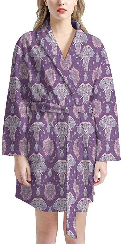 NDISTIN Purple Indian Elephant Design Bathrobe Men Women Fashion Sleepwear Soft Cotton Robe Spa Pajama Party Loungewear Long Sleeve Kimono Nightgrown Housecoat