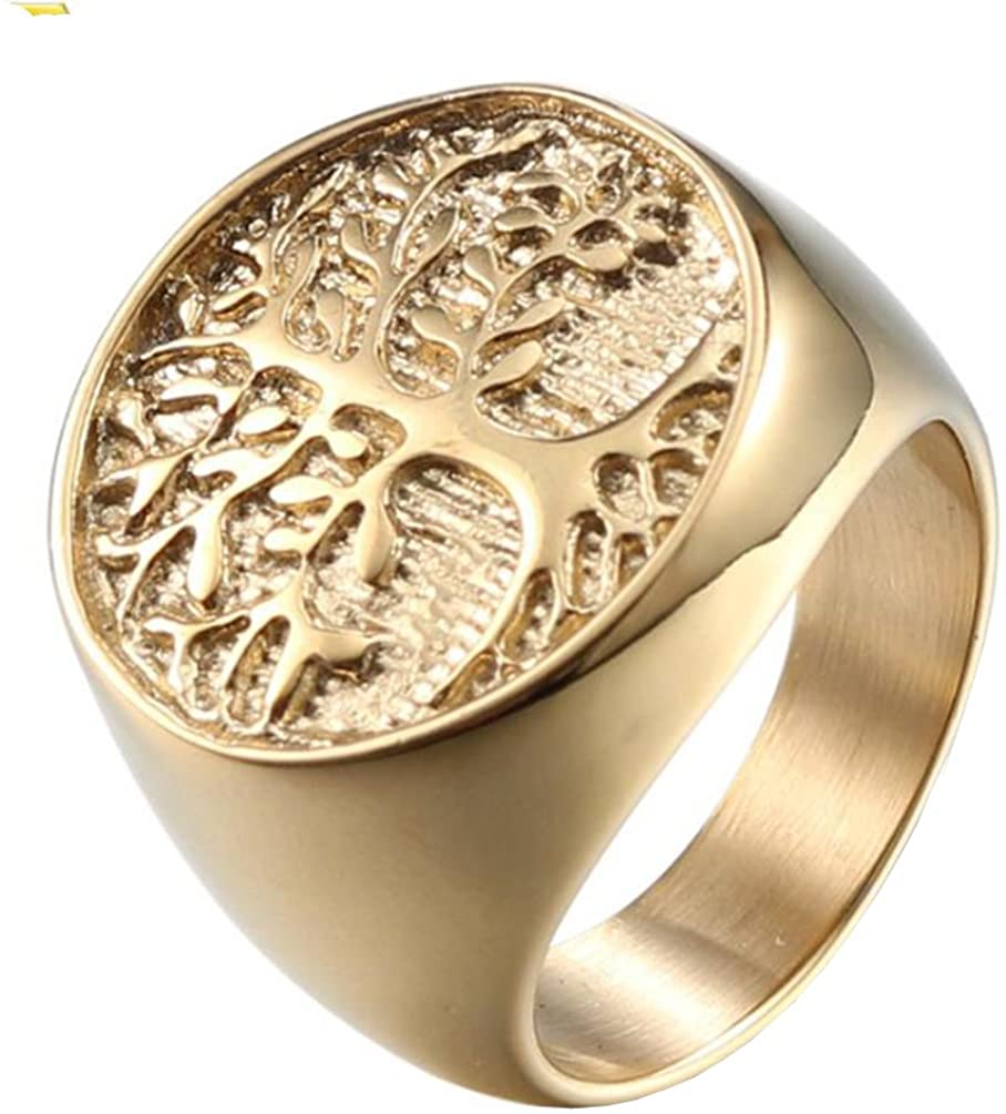 PAMTIER Men's Stainless Steel Vintage Tree of Life Ring Punk Band Non-allergenic