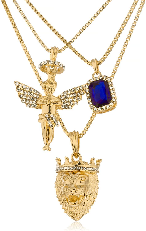 JOTW Black, Blue Red - Goldtone Simulated Gemstone Angel & Lion Pendants, 24