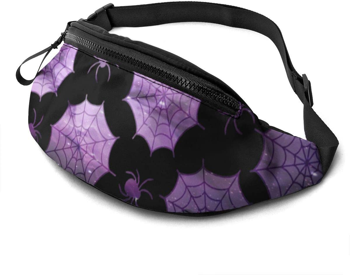 White spider web pattern halloween Fanny Pack for Men Women Waist Pack Bag with Headphone Jack and Zipper Pockets Adjustable Straps
