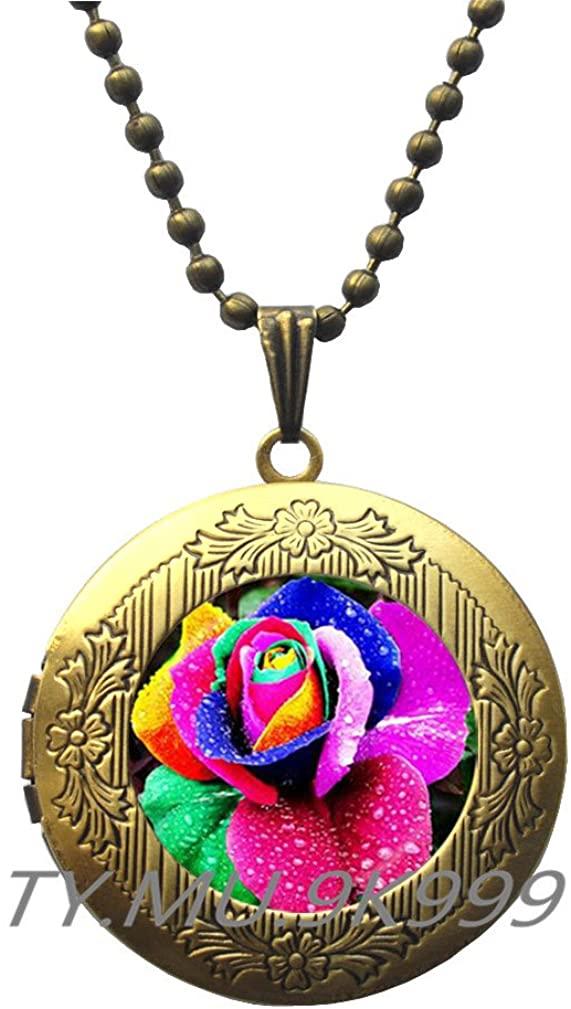 Yao0dianxku Rainbow Rose Art Locket Pendant, Rainbow Locket Necklace, Rainbow Rose Locket Pendant, Rose Locket Necklace, Rose Locket Pendant, Rainbow Locket Pendant, Rainbow, Locket Pendant.Y196