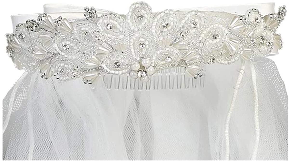 Swea Pea & Lilli Girls First Communion Veil - White Holy 1st Communion Headpiece with Headband and Beads